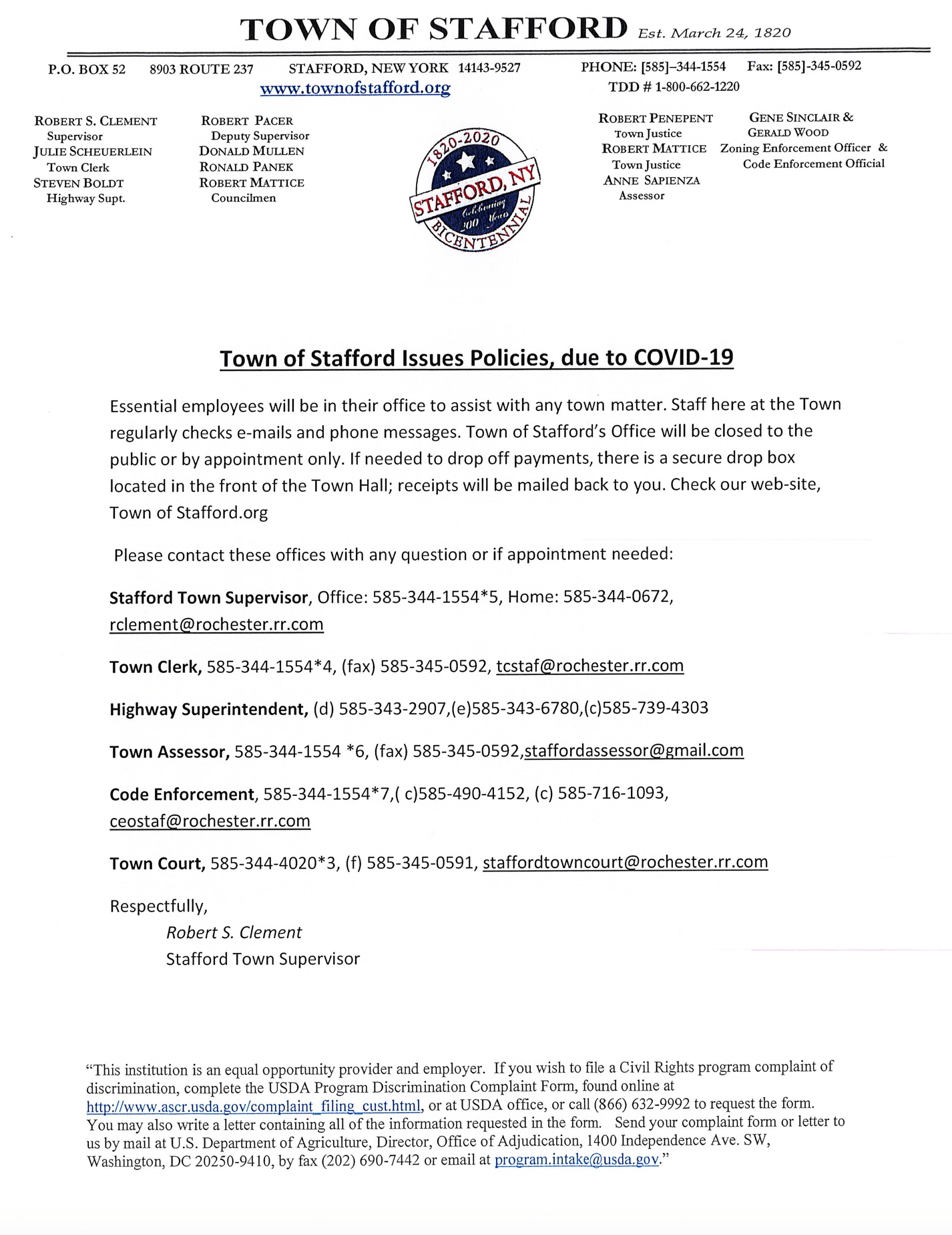 Town of Stafford COVID 19 Policies Alert